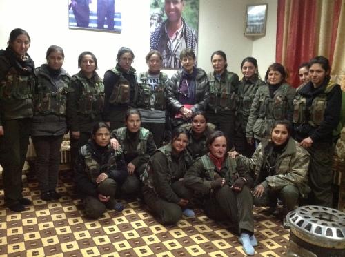 Owen with Kurdish women in Rojava_Dec 2013